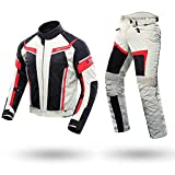 QQA Traje de Moto Motorbike Racing CE blindado Impermeable Pantalones para Hombre de Toda estaciòn,Blanco,XXL