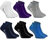 Rainbow Socks - Jungen & Mädchen Sneaker Socken Baumwolle - 6 Paar Multipack - Weiß Violett Grau Dunkelblau Schwarz Jeans - Größen 30-35