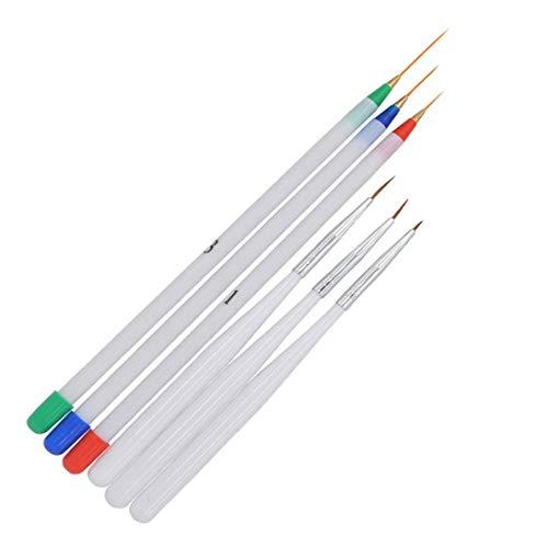 Un-brand Set di 6 pennelli per nail art, con gel UV e acrilico, per nail art, per principianti, colore bianco, molto pratico e popolare