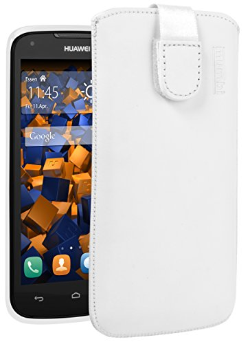 mumbi Echt Ledertasche kompatibel mit Huawei Ascend Y520 / Y540 Hülle Leder Tasche Case Wallet, Weiss
