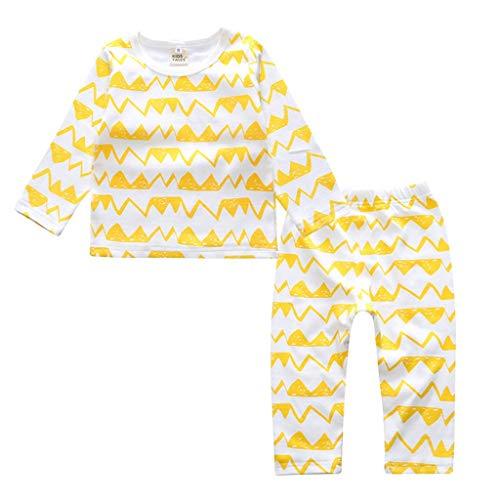 Ensemble de Pyjama en Coton Little Kids Boys pour Filles Vêtements de Nuit géométriques à Manches Longues Ensemble de vêtements de Nuit 2 pièces(A,3-4 Années)