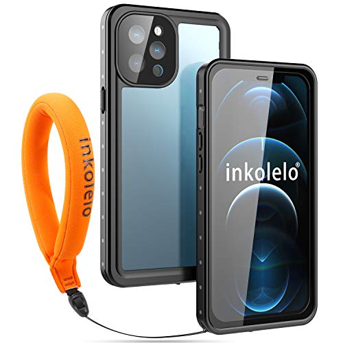 inkolelo Compatible with iPhone 12 Pro Max Waterproof Case, Built-in Screen Full-Body Protector with Floating Strap IP68 Waterproof Case for iPhone 12 Pro Max 6.7 inch Case (2020) - Matte Black/Orange