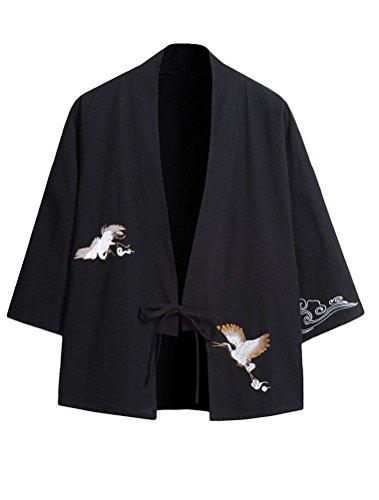 Siehin Herren Baumwolle Japan Happi Kimono Haori Jacke Übergangsjacke (EU 2XL =Asia 4XL, Schwarz)