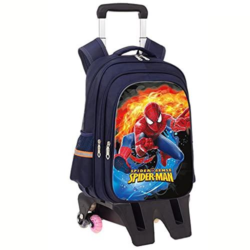XNheadPS Spiderman Mochila Trolley Maleta Vacaciones Bolsa Almuerzo Set Viaje Paquete Equipaje para niños con Ruedas Equipaje Ligero Impermeable Boy Trolley Mochila,Tall Feet-Six Wheel