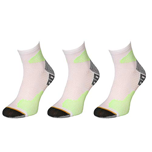 Comodo - Laufsocken Herren & Damen rutschfest, 3 Paar Thermo Sneakers kurz, Outdoor Socken für langes Laufen/Joggen & Crossfit, Unisex Sportsocken RUN1 gr 39-42 weiß/grün