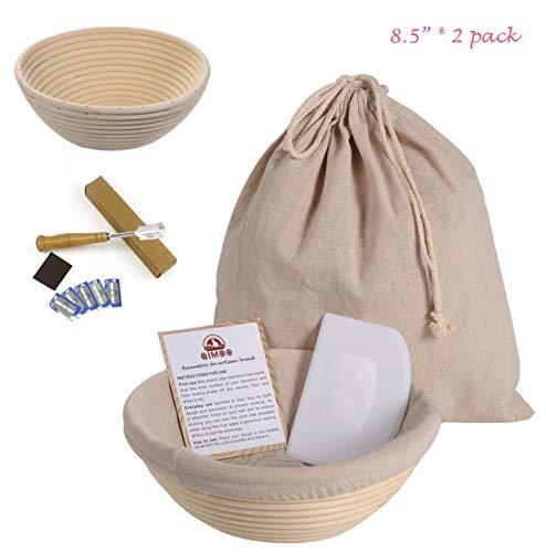 Banneton Bread Proofing Basket Set of 2 Brotform Bowl Proving Baskets for Sourdough with Dough Scraper Bread Scoring LameReusable Bread Bag 85quot 2sets Round