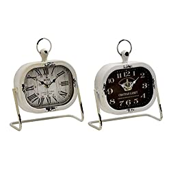 Deco 79 Metal Table Clock, 2 Assorted, 9 by 9