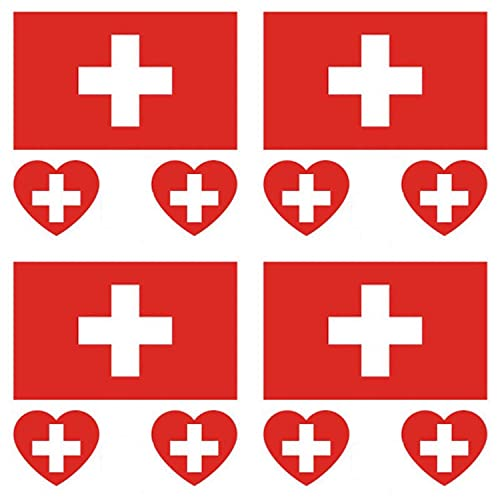 GUGUBU Pack of 4 Switzerland Sticker Temporary Body Tattoo Flag Swiss National Flags Euros World Cup Football Fans Music Festival Heart