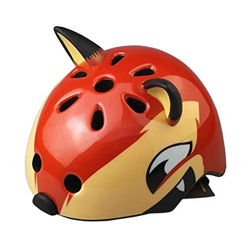 WBHMVMZ Kid Bike Helm Leichter Cartoon Skateboard Helm Atmungsaktiv Einstellbar Kindersicherheit Fahrrad Fahrradhelme für Rollerskate Jungen Mädchen 50-54cm-Fuchs