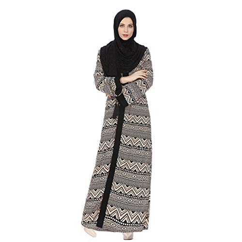 Robe Musulmane Femme, Robe de Soiree Femmes Longue Robe de Mariée Cardigan Caftan Musulman Moyen-Oriental Abaya Musulmanes Robe Maxi Islam Longue Jupe Vêtements