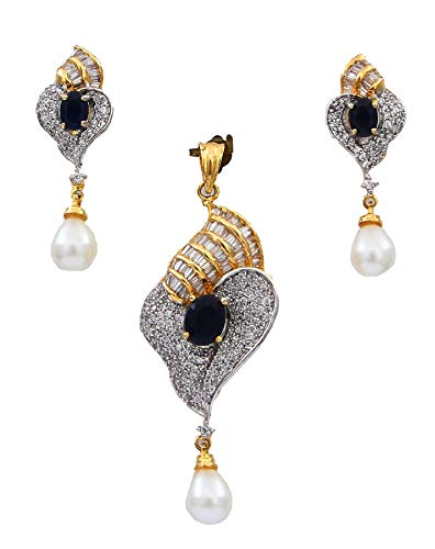 55Carat Pearl Design Pendant with Drop Earring for Women Girls Ladies Blue Sapphire Beautiful Design Locket Yellow Gold Plated Multipurpose Jewellery for Womens MRP 37-Blue