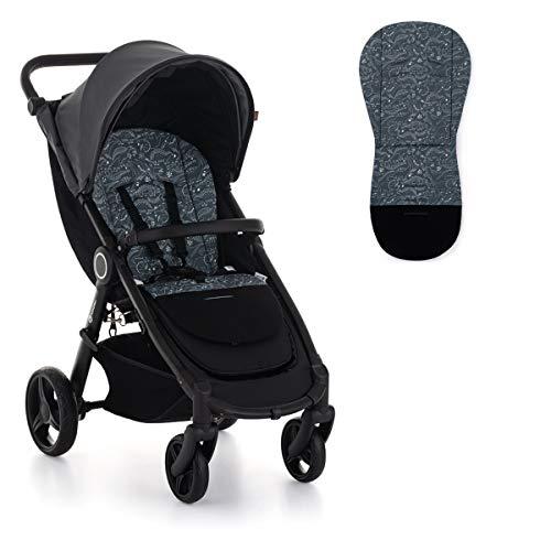 Petite&Mars Foamy * memory foam liner * Sitzeinlage * Universal Sitzauflage für Kinderwagen, Buggy * Anti-Stoß * Baumwolle (Anthracite Dino)