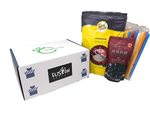 Qbubble Tea Lychee Powder 2.2 Pound With 50pcs Bubble (Large) Straw and WuFuYuan - Tapioca Pearl (Black) - Net Wt. 8.8 Oz in Fusion Select Gift Box