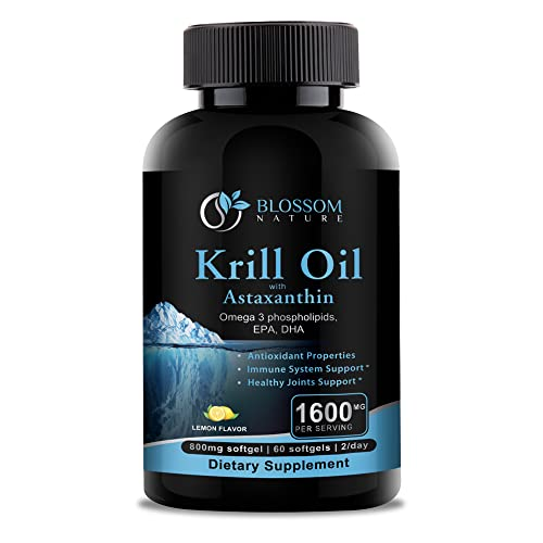 Krill Oil 1600mg Supplement with Astaxanthin 2mg-Omega 3 Phospholipids,Fatty Acids,EPA,DHA-Support for Immune System,Healthy Joints,Hair,Skin*-60 Softgels with Lemon Flavor, Non-GMO, 800mg per Softgel