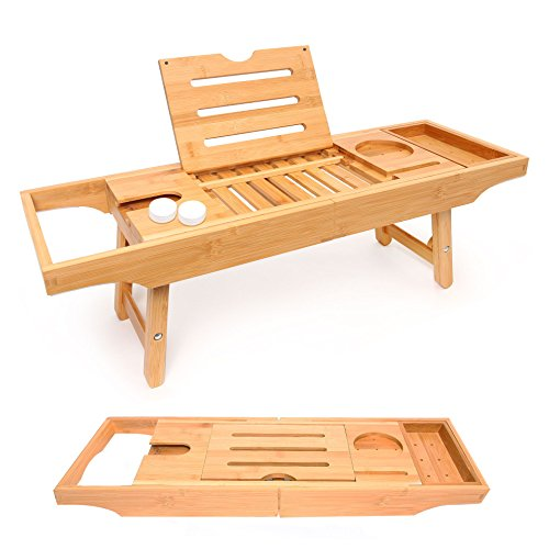 Bathtub Caddy and Bed Tray Combo - Premium Bamboo Wood with 2 Lavender Bath...