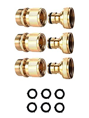 OGC Garden Hose Quick Connector 3/4 inch GHT Brass Easy Connect Fitting - Quick Disconnect Hose Fittings Male and Female