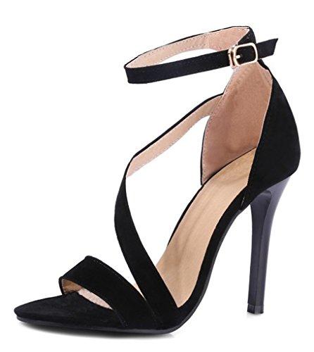 Minetom Damen Sommer Knöchelriemchen Sandalen Klassische Cross Strap High Heels Stiletto Sandaletten Schwarz EU 33