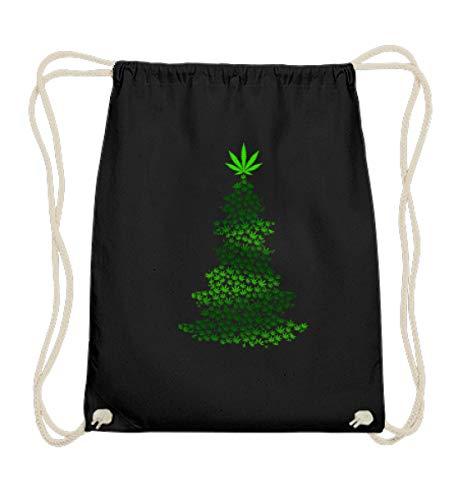 EBENBLATT Hanf Marihuana Cannabis Weihnachtsbaum Weihnachten 2018 Gras rauchen Christmas Geschenk - Baumwoll Gymsac