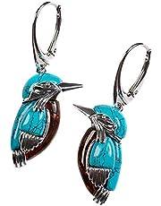 Abimy Blåa fågelörhängen, vintage blå emalj örhänge, retro stil turkos örhänge hänge med stor ring emaljdekor för kvinnor ny