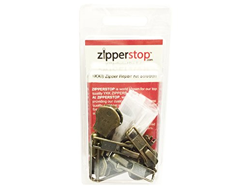 YKK Zipper Repair Kit Solution 8 Sets Assorted 4 of #5, 2 of #7 and 2 of #10 Included Top & Bottom Stops Made in USA Antique Auto Lock Sliders, Black