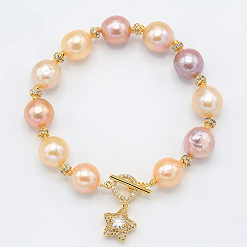 WLLLTY Pulsera para Mujer Pulsera de Perlas de Colores Colgante de Estrella Pulsera de Perlas de Agua Dulce de circón Regalo