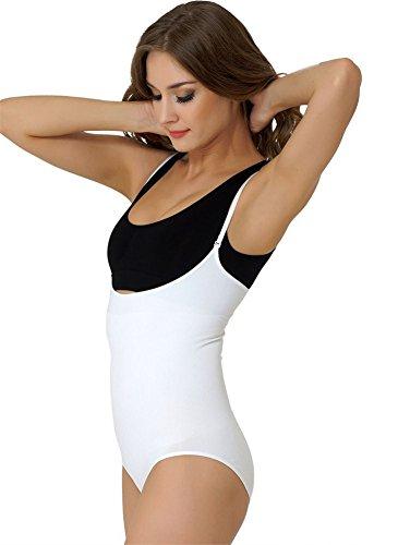 Formeasy Damen Shapewear Formbody mit Lieblings-BH kombinieren, Miederbody Body Shaper Bodyformer, stark Formende Unterwäsche mit Bauchweg Effekt - Shaping Body (XXXL, Weiß)