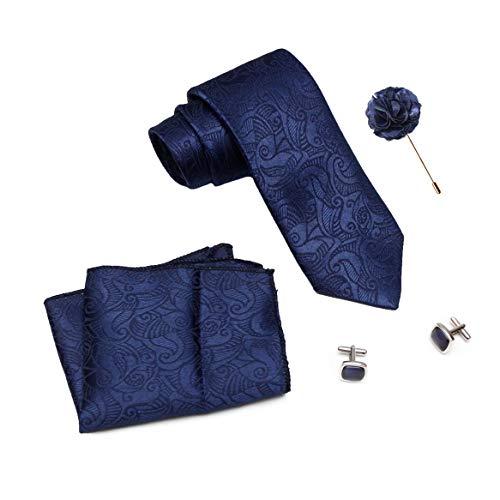 Axlon Designer mens Necktie, Pocket Square, Cufflink Dark Blue (N-MultiTie-022, Free Size)
