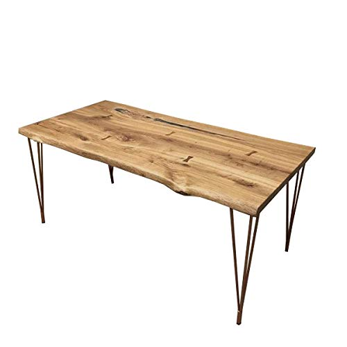 Barnes Industrial Rustic Style Dining Table With Hairpin Legs. Live Edge Oak Solid Natural Wood