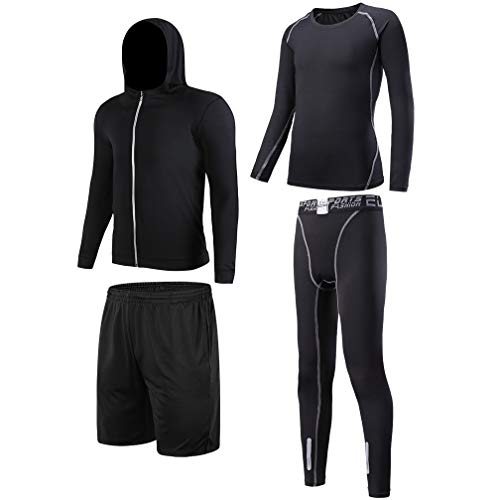 TERODACO Boys Sports 4 Pcs Compression Baselayer w Jersery Set Girls Thermal Underwear Suit for Football