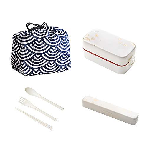 Fiambreras japonesas de doble capa Bento Box Microondas Calefacción Fiambrera Set Blanco