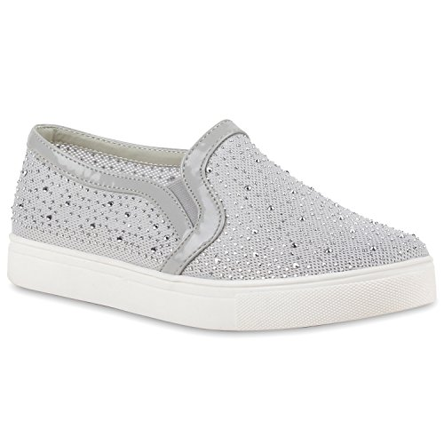 stiefelparadies Damen Slip-ons Kroko Optik Sneakers Metallic Slipper Bequem Schuhe 110909 Hellgrau Camiri Strass 39 Flandell
