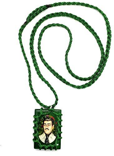 Paradise_Shopping Jesus Malverde Wood Escapulario Negro Narco Saint Square Black Pendant Charm Necklace (Green)