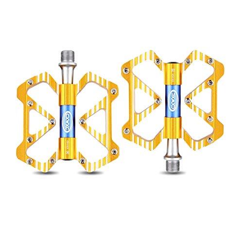 KUQIQI Fahrradpedale - Aluminium CNC-gelagerte Mountainbike-Pedale - Rennradpedale mit 20 Anti-Rutsch-Stiften - Leichte Fahrrad-Plattformpedale - Universelle 9/16