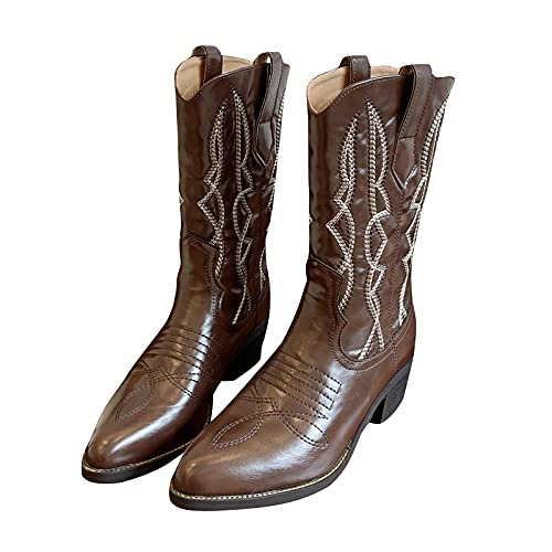 DKBL Cowboy Boots for Women Fashion Pointed Toe Ankle Boots Vintage Embroidery Short Boots Color Matching Mid-Tube Boots Brown