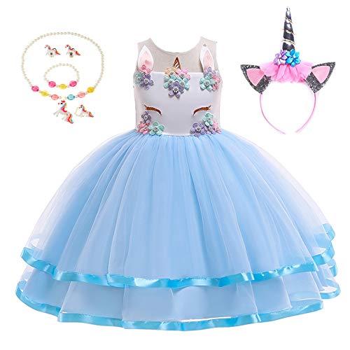 Yigoo Vestito da bambina con unicorno, tutù, costume da principessa, per cosplay, carnevale, Halloween, compleanno, con fascia per capelli, blu 120