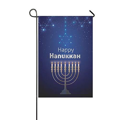Mark Reynolds Garden Flag Happy Hanukkah Light Candles House Flag Decoration Double Sided Flag 12.5' x 18'