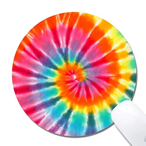 Mouse Pad with Stitched Edges,Tie Dye Art Customized Design Extended Gaming Mouse Pad Anti-Slip Rubber Base Ergonomic Mouse Pad for Computer -Black Round 200x3mm