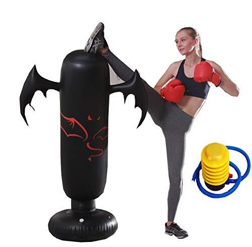 GRXIN Aufblasbares Taekwondo Fußziel Stehendes Fußziel Boxen Sanda Trainingshand Double Kick PU Pad Boxsack mit Pumpe und Handschuhen,C