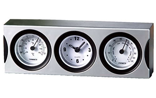 Stationery thermo-hygrometer with clock (japan import)
