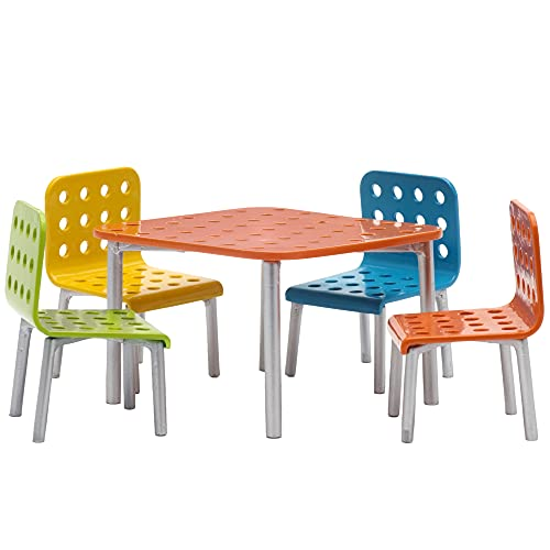 Lundby 60-905000 - Gartenmöbel für Puppenhaus - Möbelset 5-teilig - Puppenhauszubehör - Balkonmöbel - Möbel - Tisch - Stühle - ab 4 Jahre - 11 cm Puppen - Zubehör - ab 4 Jahre - Minipuppen 1:18