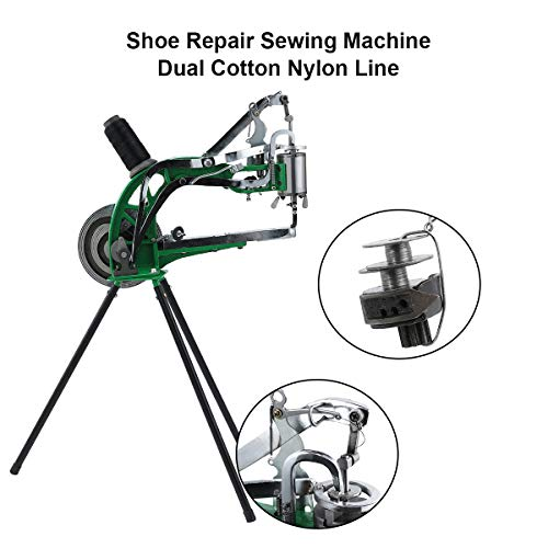 Z ZELUS Máquina de Reparación de Zapatos Máquina Manual de Reparación de Calzado Máquina de Doble Línea de Nylon para Reparar Zapatos, Pantalones, Bolsos de Cuero, etc.