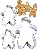 HomeTools.eu® - 3 moldes para galletas de jengibre con forma de hombre y mujer y niño para galletas de jengibre, galletas, pan de ginebra, Navidad, 3 tamaños, acero inoxidable, 3 unidades.