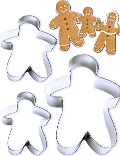 HomeTools.eu® - 3 Ausstech-Formen Pfefferkuchen-Mann- Mann Frau Kind für Lebkuchen Figuren Kekse, Gebäck, Gingebread, Weihnachten, 3 Größen, Edelstahl, 3 Stück