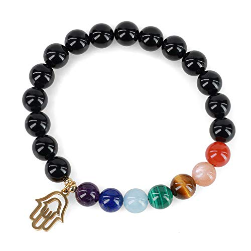 COAI Pulsera Unisex de Turmalina Negra con Piedras de 7 Chakras y Amuleto Mano de Fátima S