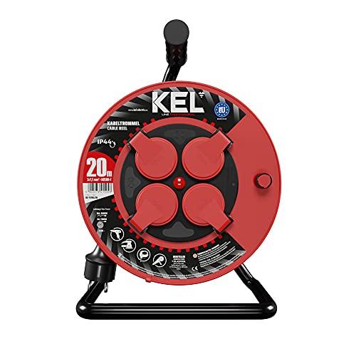 KEL -ELECTRIC - Tambor de cable con 20 m de cable de goma 3 x 1,5 mm², 230 V/16 A, cable alargador de plástico con 4 enchufes de protección IP44