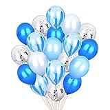 ブルー&シルバーの紙吹雪風船瑪瑙マーブルストライプアソートカラーパーティー風船[12インチ、20枚組]ベビーシャワーの誕生日の結婚式のためのメタリックラテックス風船NYEパーティー装飾用品 - ブルーセット