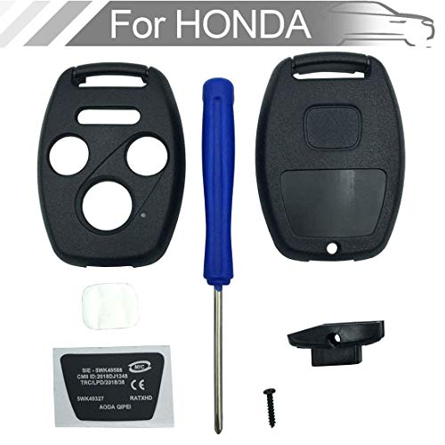 NEW 4 button Key Fob Shell Case Fit for Honda Civic Accord Ex Pilot Fit Keyless Entry Remote Key Housing Replacement with Screwdriver (3+1Button 1PCS)