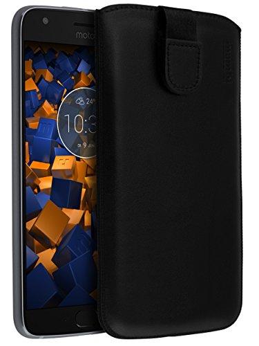 mumbi Echt Ledertasche kompatibel mit Motorola Moto X4 Hülle Leder Tasche Hülle Wallet, schwarz