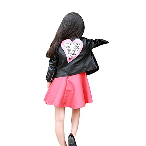 Hirolan Mantel Winter Mädchen Kinder Baby Herz Brief Outwear Lange Ärmel Nähen Ledermantel Revers Lederjacke Mode Chic Kunstleder Kurze Jacke(12 Monate-5 Jahre) (Schwarz, 90)