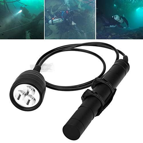 SecurityIng 3000LM Primary Canister Dive Light, 3X Cree XM-L2 LED Scuba Diving Flashlight Underwater 492ft/150M Torch with 1.2M Cable for Professional Diving/Cave Diving(Batteries Not Included)